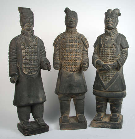 terra cotta: 3 terra cotta chinese warriors