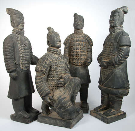 terra cotta: 4 terra cotta Chinese warriors