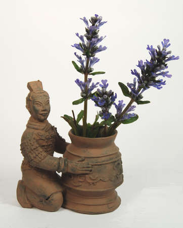Terra cotta chinese warrior planter with blue flowers