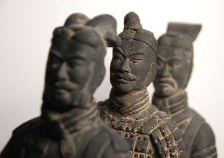 terra cotta: 3 terra cotta warriors w clipping path Stock Photo
