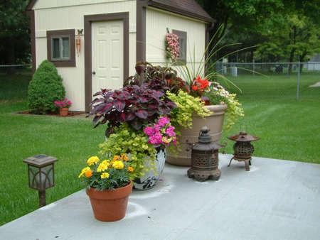 planters: flowers & Lanterns on Patio