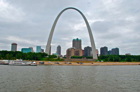 st  louis arch: St Louis Skyline with buildings framed by Arch Stock Photo
