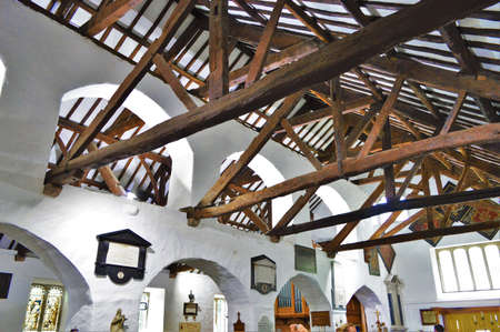 cieling: Wood Beams in Ancient Scotland Church