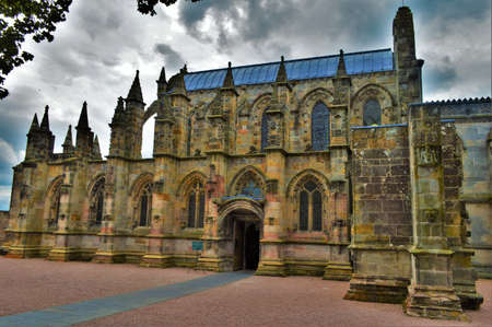 Rosslyn Chapel on a Cloudy Day Stock Photo