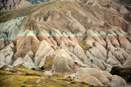 otherworldly: cappadocia, turkey, is full of otherworldly natural sites,tall,cone-shaped rock formations chustered in Monks Valley and elsewhere Stock Photo