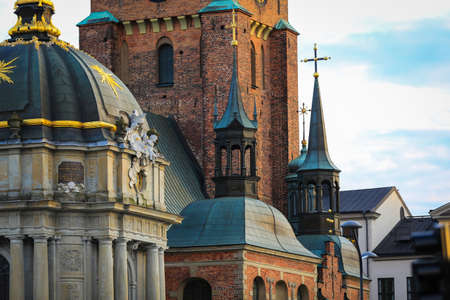 primarily: view of a church in gamla stan,gamla stan is the old town of stockholm, sweden. gamla stan consists primarily of the island stadsholmen