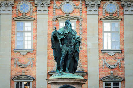 nobility: a statue of gustaf eriksson vasa at the house of nobility in stockholm,sweden