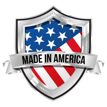 retail sales: Made in America Shield Illustration
