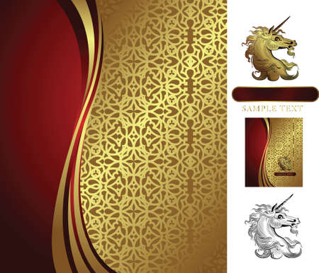 golden background with unicorn Vector