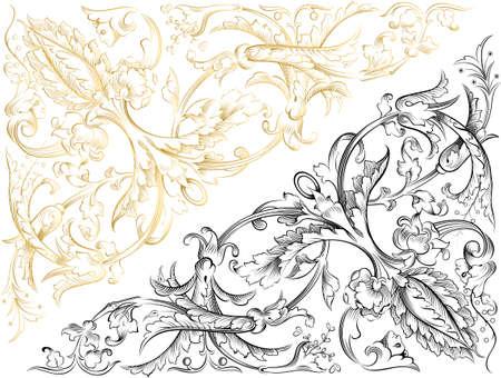 gold textures: flroal design element Illustration