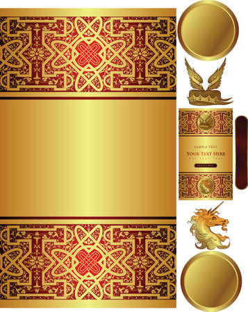 golden background with myth decors Vector