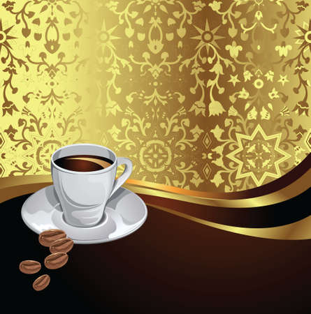 coffee with golden background Vector