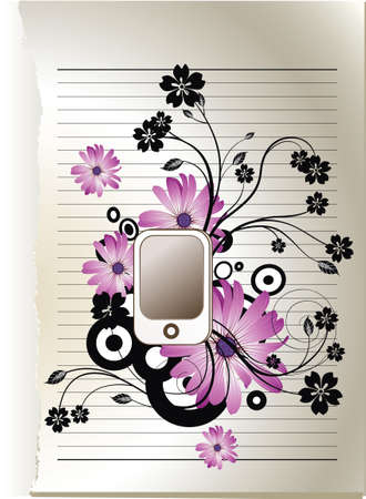 floral and paper background Illustration