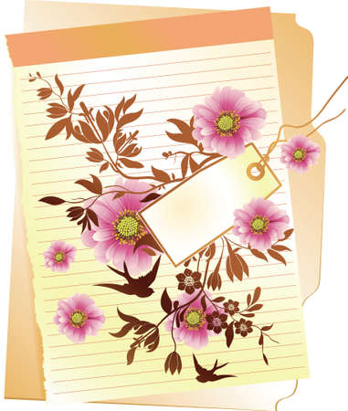 floral and tag Vector