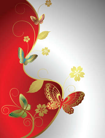 floral and butterfly Vector