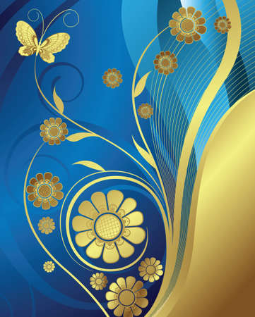 royal blue: floral and butterfly Illustration