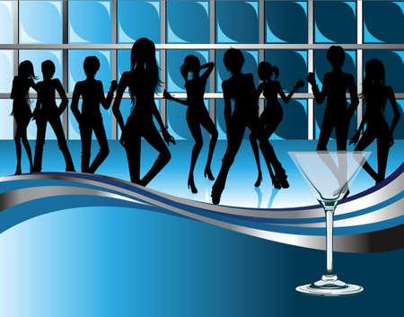 night bar: personas en pub