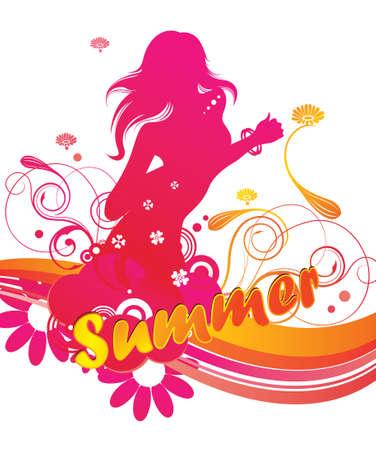 woman floating: summer beauty