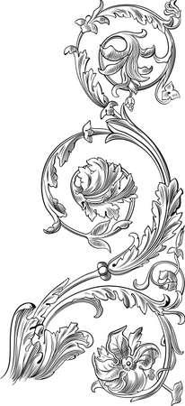 scroll design: floral design element Illustration