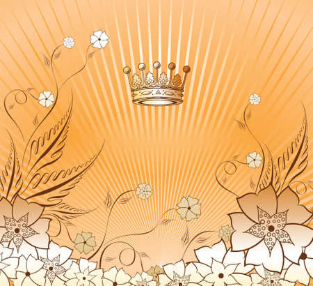 Floral Background with Crown Vector