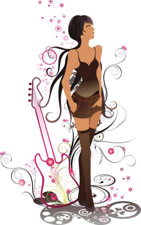 Moda dama con guitarra Foto de archivo - 3363547