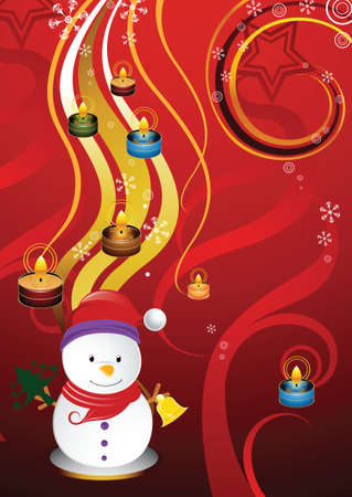 snowman and candle Vector