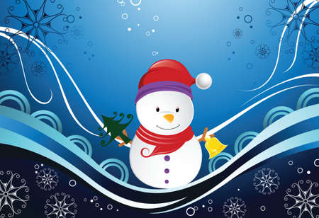 snowman and snowflakes Vector