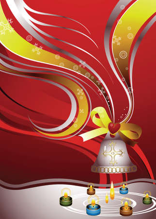 christmas bell and candle Vector