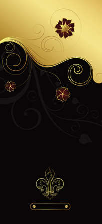 Floral Design Background with Emblem Stock Vector - 3487937