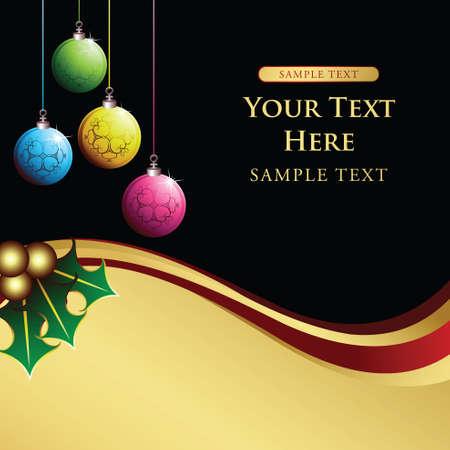 christmas holly and ball Vector