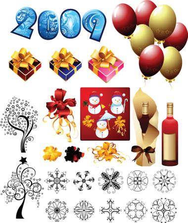 2009 party celebration design elements Vector
