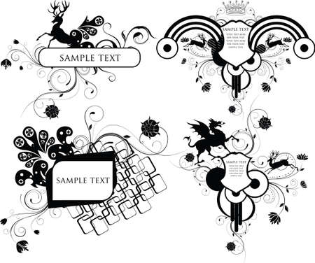 frame and shield design with animals Illustration