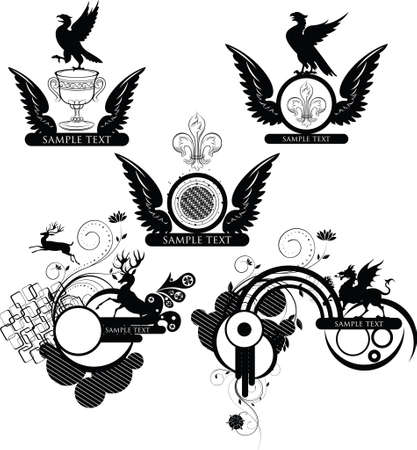 frame and emblem design with animals and wings