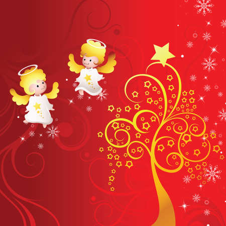 holiday background with angel Vector