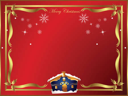 christmas holly frame with house Stock Vector - 3562827