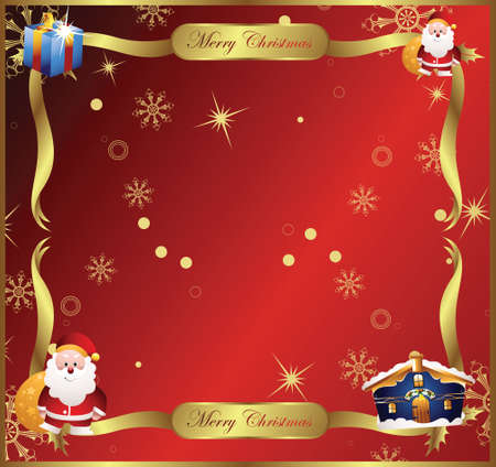 christmas frame with santa and gift box decorations Vector