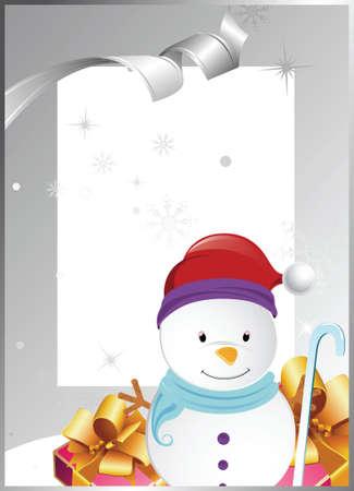 christmas frame with snowman Vector