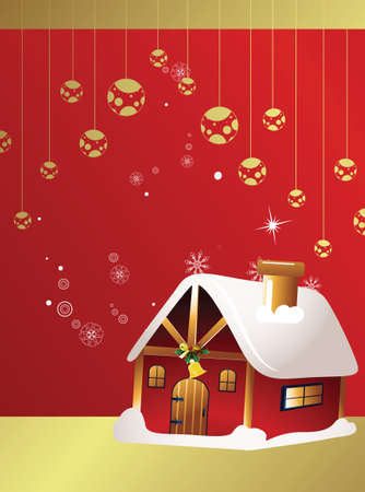 gold house: christmas card with house