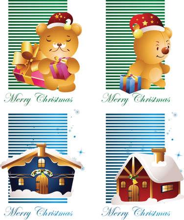 christmas card with bear Vector