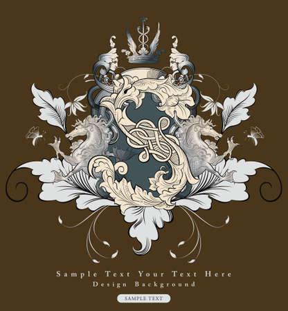 retro font: vintage floral design background