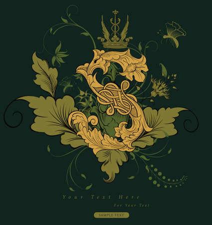 fonts vector: vintage floral design background