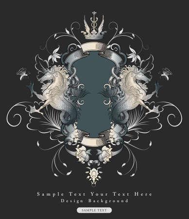fonts vector: vintage floral design frame with myth