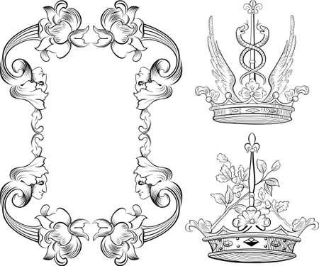 vintage floral frame and crown 向量圖像