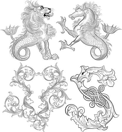 fonts vector: vintage floral and myth monster