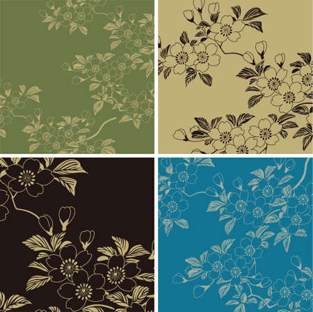 japanese flower: japanese floral background Illustration