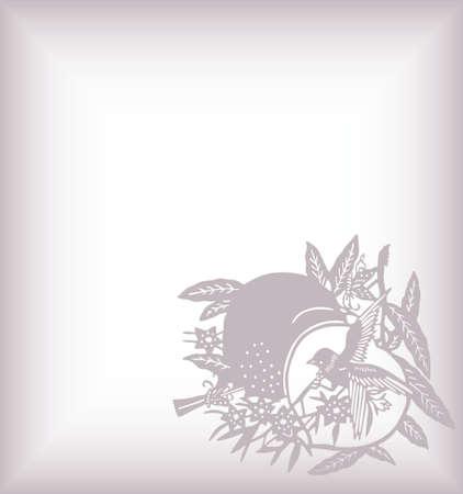 japanese floral bird Vector