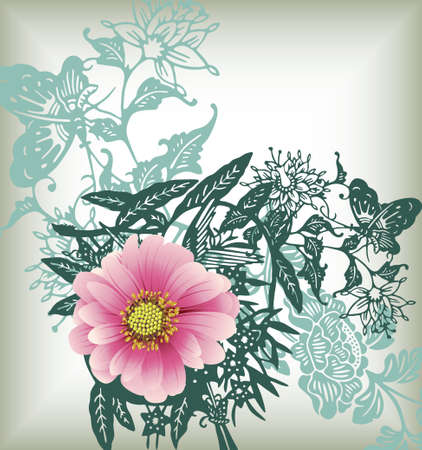 japanese garden: pink daisy flower and butterfly Illustration