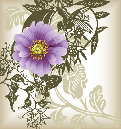 purple dasiy flower and bird Vector