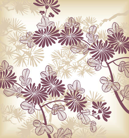 japanese floral background Stock Vector - 3895282