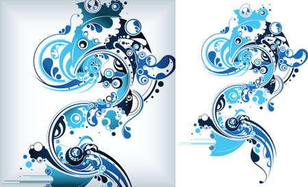 marine life fish with water bubbles Illusztráció